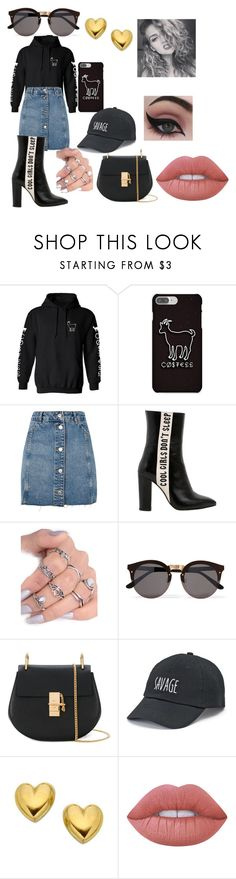 """""""Celebrity:Meeting Erika Costell"""" by mihaelamarula on Polyvore featuring Topshop, Havva, Illesteva, Chloé, SO, Lime Crime and Concrete Minerals"""