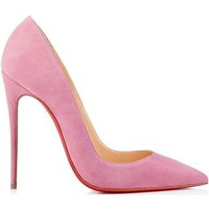 Christian Louboutin So Kate Pink Suede 120mm Pumps ❤ liked on Polyvore featuring shoes and pumps