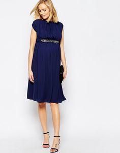 Maternity Embellished Trim Midi Dress