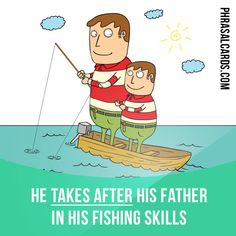 """Take after"" means ""to be like or to look like someone in your family"". Example: He takes after his father in his fishing skills."