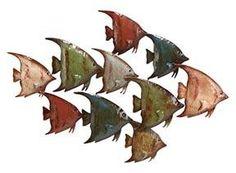 Benzara 63533 Metal Fish Nautical Wall Art Decor Sculpture