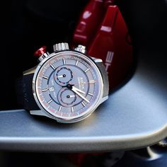 Edox Chronorally with a brand new dial #edox #edoxswisswatches #chronorally #newdial #swisswatches #racewatch #swissmade #rally #cars #racing #sportwatch #porsche #wotd #bigpusher #red #grey #timingforchampions