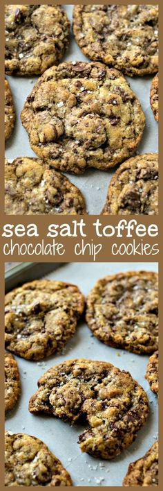 Sea Salt Toffee Chocolate Chip Cookies - CPA: Certified Pastry Aficionado Chewy chocolate chip cookies are given a gourmet makeover with the addition of toffee bits and a sprinkle of sea salt Cookie Desserts, Just Desserts, Cookie Recipes, Delicious Desserts, Dessert Recipes, Yummy Food, Gourmet Cookies, Gourmet Desserts, Baking Cookies