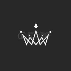 Crown Logo Monogramm Mockup Schwarz Wei k nigliches Symbol mit Juwelen in der Kreuzung d nne Linie Lizenzfreie Bilder