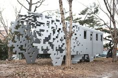 yong ju lee pixelates melting train for dispersion sculpture