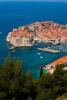 Dubrovnik, Croatia is your first destination. Dubrovnik has an average temperature of 22 degrees. Places Around The World, Oh The Places You'll Go, Places To Travel, Places To Visit, Around The Worlds, Vacation Destinations, Dream Vacations, Vacation Spots, Montenegro