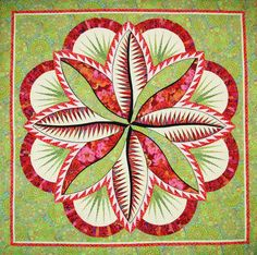 "Fire Island Hosta quilt, 74 x 74"", shown in Kaffe Fassett Fabrics.  Design by Judy Niemeyer.  Quilt pattern/kit at Tennessee Quilts"