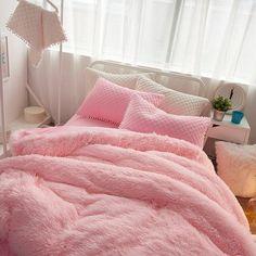 b3d91858bb92c Pink Suede Four Piece Bedding Set Cute Girl Favorite Winter Duvet Cover  Fluffy Bedding