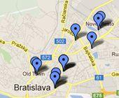 Locations of Ambiente Apartements in Bratislava, Slovakia