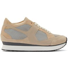 Mm6 Maison Margiela Beige Low-Top Leather Sneakers (€320) ❤ liked on