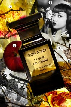 """Fleur de Chine by Tom Ford The fragrance weaves a spell with exotic hua lan flower and tree peony (2), as well as plum (3) and wisteria. A blend of star magnolia (4) and jasmine pays homage to traditional Chinese blooming teas, while notes of hinoki wood, used for the torii gates outside Shinto shrines (5), and """"warm, creamy"""" benzoin (6), which is burned in Asian temples, lend the scent's base a """"glamorous mystique."""""""