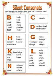 English worksheet: Silent consonants.