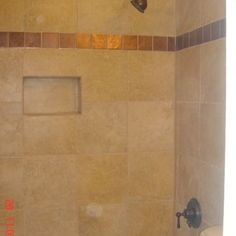 Classic Travertine Tile Shower Design Ideas, Pictures, Remodel, and Decor - page 146. Travertine lg. tile cubby