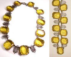 FABULOUS art deco Lemon Glass Festoon necklace by vintagesparkles, $345.00