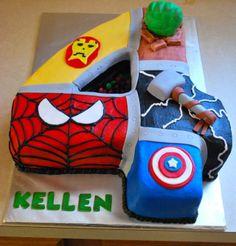 Super Heros Number 4 Cake