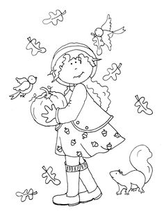 ■ Dearie Dolls... free Dearie Dolls digi stamp of girl holding a pumpkin as a squirrel watches some birdies happily flutter around her