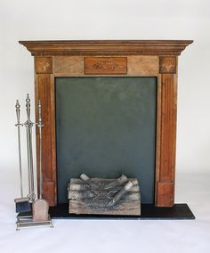 4'x4' Wood Fireplace with Electric Logs & Tools  $50 Set