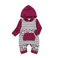 Cute Geo Pattern Hooded Long-sleeve Cotton Jumpsuit for Babies
