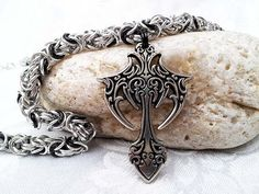 Gothic Cross Pewter Necklace  Chainmail  by LittleCoveCreations, $52.00