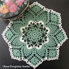 Sage green doily Finished October 2013.   https://www.pinterest.com/KnotForgottenSt/knot-forgotten-studio/