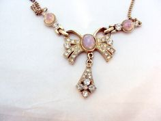 Rhinestone, Faux Opal, Bow Necklace by Anthony – Vintage | Bitz of Glitz