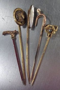 Antique 5 Victorian Hat Pins. Love the one that's shaped like a walking cane <3
