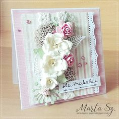 Scrap and Craft: Cards with flowers using products from www.scrapandcraft.co.uk #cards #crafts #lace #chipboard #flowers