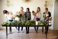Lauren Conrad and her team arranging flowers