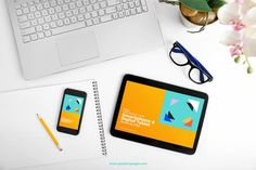 Free Workplace with Smartphone and Tablet Mockup
