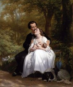by Fritz Zuber-Buhler Romance Arte, Art Ancien, Fritz, Art Of Love, Victorian Art, Oil Painting Reproductions, Old Master, Love Painting, Illustrations