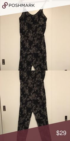 American Eagle - Black floral romper! Great floral romper, perfect for fall/winter along with a plaid shirt and boots! Size M. BUNDLE AND SAVE!! American Eagle Outfitters Pants Jumpsuits & Rompers