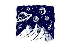 Call of mountains   Pre-Designed Illustrator Graphics ~ Creative Market Universe, Stickers, Mountains, Wall Art, Creative, Illustration, Design, Illustrations, Sticker