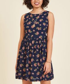 Navy Floral To Be in Your Essence Dress on #zulily! #zulilyfinds