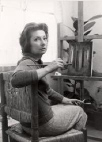 remedios varos studio | Photograph of Remedios Varo in her studio painting Farewell , 1958 ...