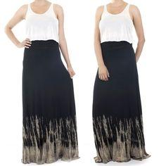 ebclo - Tie-Dye Rayon Jersey Maxi Skirt  $32.00 Free Domestic Shipping