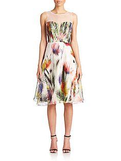 Badgley Mischka Illusion Floral Silk Cocktail Dress
