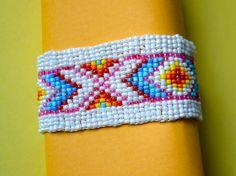 Vintage Beaded Bracelet Peyote Stitch Multicolor by ESTATENOW, $7.50