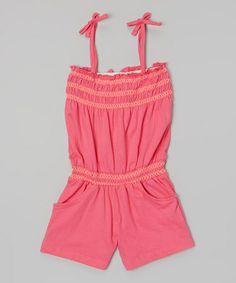 Another great find on #zulily! Pink Zigzag Shirred Tie Romper - Infant, Toddler & Girls #zulilyfinds
