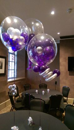 Cherry Venue Dressers are specialist event planners and stylists, let us take the stress out of your big day, just sit back and enjoy the party! Clear Balloons, Balloon Decorations, Big Day, Party Time, Chandelier, Ceiling Lights, Purple, Ideas, Fiestas