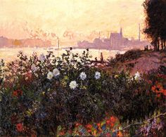 Claude Monet Paintings-Argenteuil, Flowers by the Riverbank, 1877