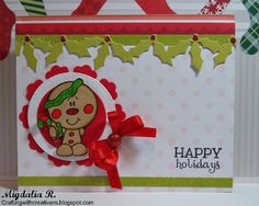 Christmas card:  Bobblehead Christmas - Gingerbread from Bugaboo Stamps.