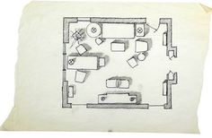 Now that's a well drawn floor plan. Interior Design History, Interior Design Courses, Furniture Layout, Furniture Plans, Albert Hadley, One Kings Lane, Presentation, Floor Plans, Sketches