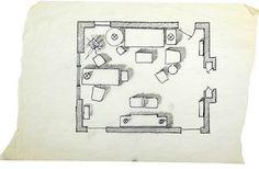 Albert Hadley. Now that's a well drawn floor plan.