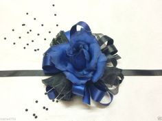 Ladies Wrist Corsage Dark Blue/Black Silk Roses Wedding/Prom Ribbon Tie on Wrist