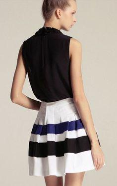 White Black Blue Pleated Flare Skirt