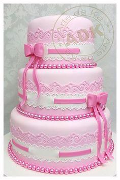 Pretty Pink Lace & Ribbon Cake