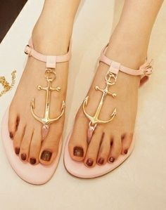 Blush pink sandals with anchors... love