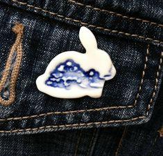 a2e28a71a1a Blue rabbit brooch, porcelain brooch, handmade ceramic rabbit, rabbit  jewellery, delft pottery jewellery, delft blue brooch, porcelain pin