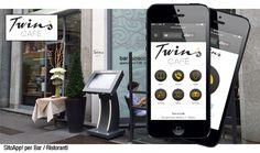 """Il SitoApp! realizzato per il """"Twins Cafè"""" di Milano. Attraverso una Home Page a 6 pulsanti, potrai: rimanere in contatto diretto con il """"Twins Cafè"""", conoscere le proposte e le peculiarità enogastronomiche anche grazie ad un MENÚ multimediale tradotto in più lingue, condividere all'interno del SitoApp! piatti e ricette su TripAdvisor, visualizzare la mappa ed inviare una eMail per richiedere info e/o prenotare un tavolo."""