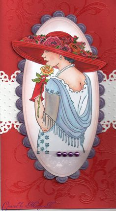 Birthday card for a Red Hat Lady Red Hat Club, Art Nouveau, Illustrations Vintage, Red Hat Ladies, Wearing Purple, Red Hat Society, Pink Hat, Red Hats, Vintage Cards